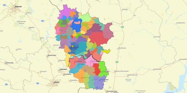 Interactive decentralisation map of the region created in Luhansk Oblast