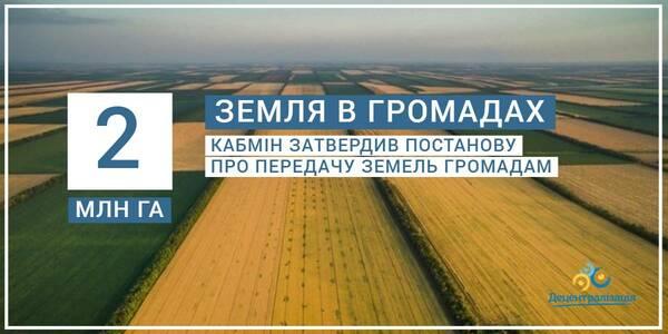 Кабмін затвердив постанову про передачу земель громадам